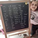 Home learning spelling on the blackboard
