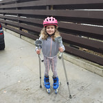 Learning to roller blade.
