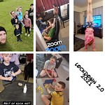 A collage of various activities that this family took part in.
