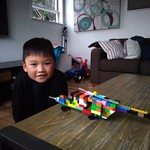 Making this very cool helicopter all by himself!