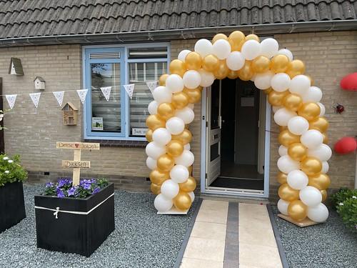 Ballonboog 5m Huwelijk Goud Wit