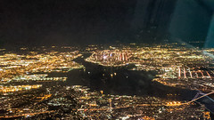 Manhattan on its edge in the middle; Verrazano in the lower-right