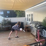 Playing footie on the deck