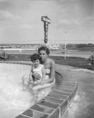 1954-07-15 Skyline Motel Swimming Pool, Anna Koclanes (Yiya) & Dottie