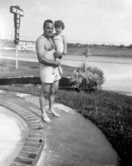 1954-07-15 Skyline Motel Swimming Pool, Nick Koclanes (Papoo) & Dottie