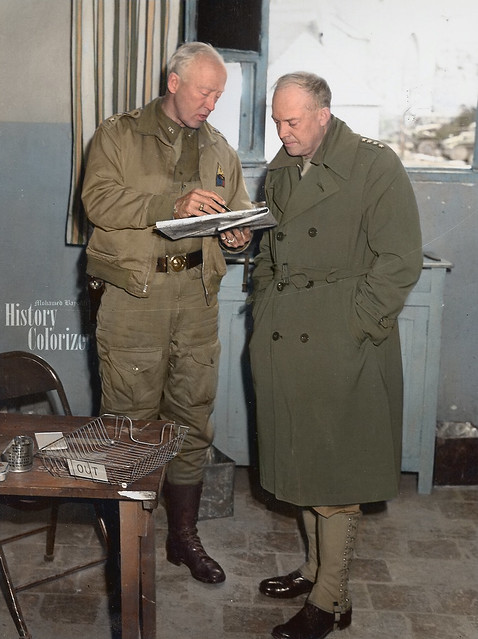Photo:Gen. Dwight Eisenhower and Lt. General Patton in Tunisia, 1943. By Mohamed Bayouli
