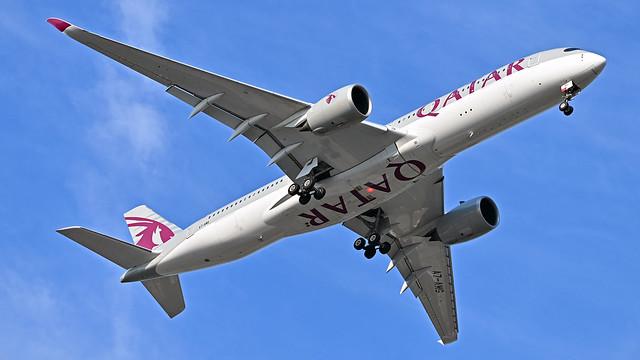 Qatar Airways Airbus A350-900 (A7-AMG) arrives at KIAD Rwy 1R on 07/22/2021 at 8:12 am.