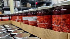 Jars of lingonberry fruit spread at IKEA