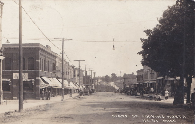 Photo:CEN Hart Oceana MI RPPC North View of State St. Downtown Stores and Businesses WOod Boardwalk Sidewalks Dirt Streets Horse and Buggy Days NOT AN AUTOMOBILE IN SIGHT 1 By UpNorth Memories - Don Harrison