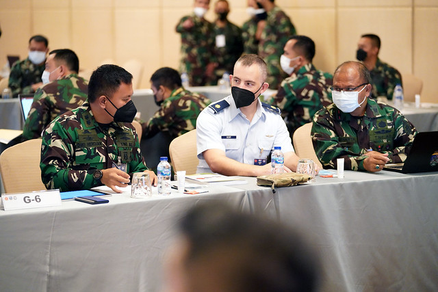 Photo:Maj. Gregory Scott and his Tentara Nasional Indonesia counterparts review portions of Exercise GEMA BHAKTI By U.S. Indo-Pacific Command