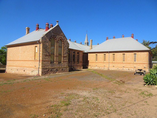 Photo:Moonta Mines. SA. The stone Moonta Mines School was built in 1878 and added to several times. It is now the Moonta Mines Museum.  This was a copper mining town from 1861. By denisbin