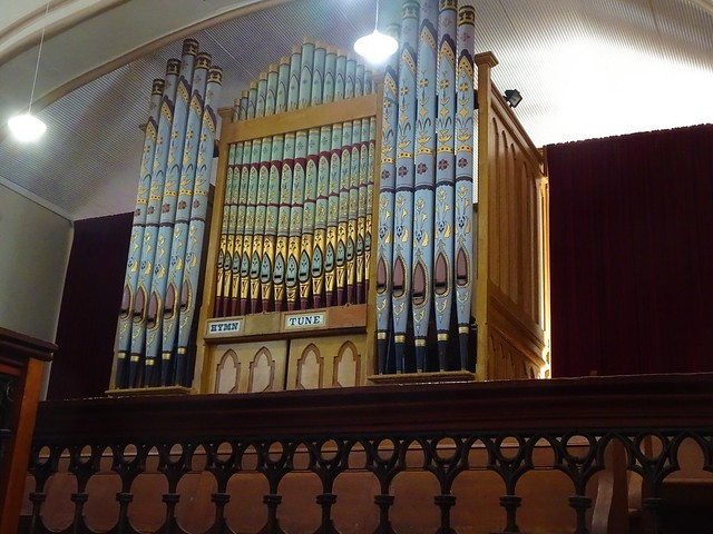 Photo:Moonta Mines. The gand pipe organ in the Wesleyan Methodist Church of Moonta Mines. This church seats 1250 people.The Cornish copper miners here were staunch Methodists. Church built 1865. By denisbin