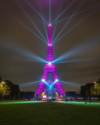 Eiffel Tower in pink, Paris
