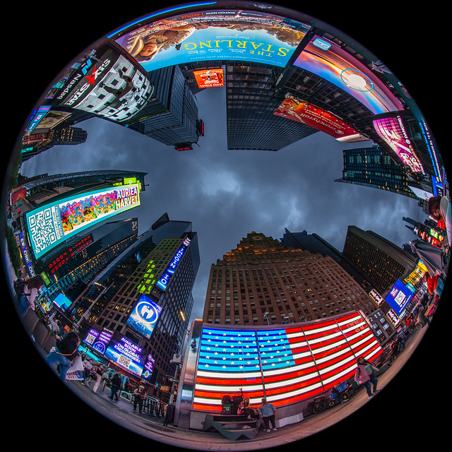Looking Up in Times Square, NYC.