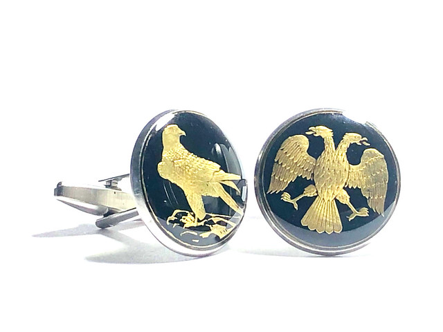 Photo:IMG_0355  Russia coin cufflihks cut from 50 Rubles , Peregrine Falcon, two-headed eagle ,18mm. By wowcoin