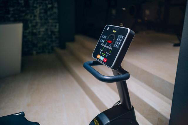 Touchscreen of a modern stepper machine in a gym