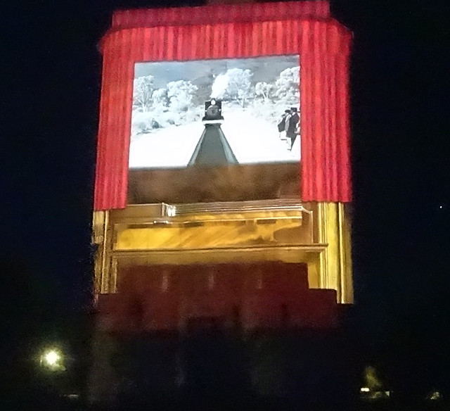 Photo:Quorn in the Flinders Ranges. History of the railways in the animated night time illuminations on the  grain silos. By denisbin