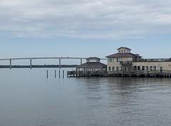 Panorama of Gov. Thomas Johnson Bridge and restaurant - St. Simon's Island