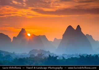 China - Yangshuo Limestone Karsts during Sunrise
