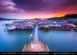 Brunei Sultanate - Borneo Island - Bandar Seri Begawan - Watervillage - Walkway over the River towards Red/Pink Sunset