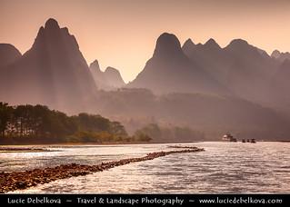 China - Guanxi Province - Guilin - Yangshuo - Limestone karsts along Li river at Sunset
